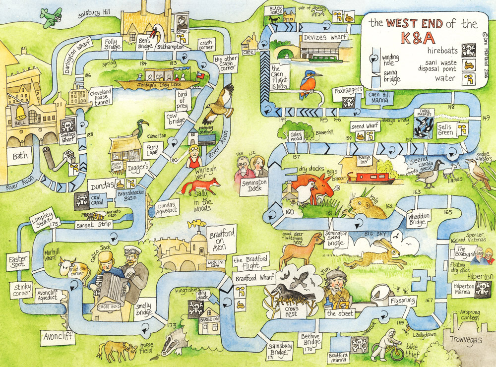 Map of the West End of the K&A - by Drusilla Marland